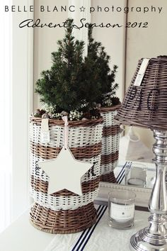 I like this natural w/painted white wicker.