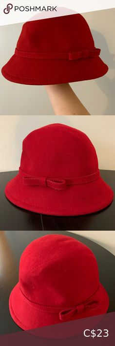 Red Wool Cloche Hat Wool hat by August Hats Cloche/bucket style Dark cherry red with a small sophisticated bow Perfect condition wool Inside circumference (measured black elastic band): approx August Hats Accessories Hats Cloche Hat, Cherry Red, Women Accessories, Bucket, Bows, Dark, Closet, Vintage, Things To Sell