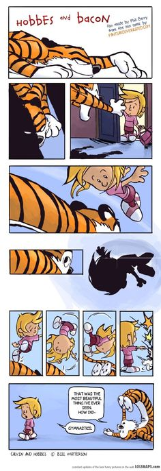 Hobbes and Bacon!! Lol I remember when Hobbes would tackle Calvin