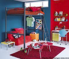 chambre rouge et bleu
