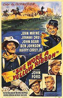 She Wore a Yellow Ribbon Directed by John Ford Starring John Wayne Joanne Dru John Agar Ben Johnson Harry Carey, Jr. Old Movies, Vintage Movies, Great Movies, Vintage Art, Awesome Movies, Donald Pleasence, Burt Reynolds, Classic Movie Posters, Classic Movies