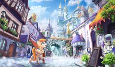 Hello everybody and I'm sorry I don't reply to all your messages, but that usually means I'm not open yet. This time it's a commission for depicting a street of the Canterlot city(town?) and his po...