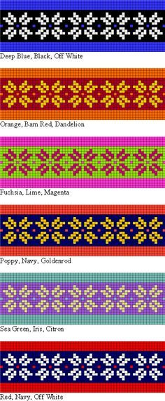 Different colorways for the free knitting pattern, Two Strands Headband