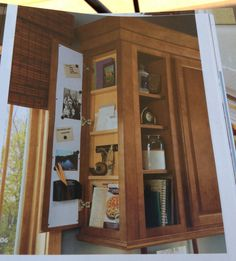 Good idea for the use of the end of an upper cabinet. #kitchen