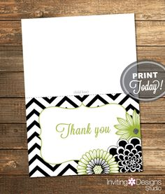 Thank You Card, Bridal Shower Invitation, Chevron, Floral, Flowers, Green, Black, White, Printable (Custom order, INSTANT DOWNLOAD) by InvitingDesignStudio on Etsy