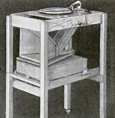 This phonograph for transmitting wireless music has a special tone chamber resting on a sound box, and produces exceptionaly loud, clear tones, free from interfering vibrations, 1922.