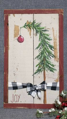 Christmas DIY : Christmas tree decor Shabby Farmhouse Christmas plaid bow black and white joy Vintage Christmas barn wood Pallet Art Rustic & Shabby Christmas Wood Crafts, Farmhouse Christmas Decor, Christmas Signs, Rustic Christmas, Christmas Art, Christmas Projects, Christmas Tree Decorations, Holiday Crafts, Vintage Christmas