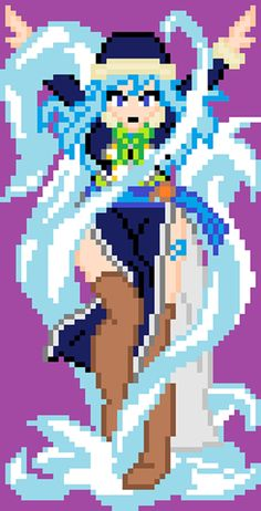 Juvia Lockser - Fairy Tail perler bead design by Kirynart Easy Perler Bead Patterns, Perler Bead Art, Perler Beads, Minecraft Anime, Minecraft Pixel Art, Image Fairy Tail, Pearl Beads Pattern, Pixel Art Templates, Anime Pixel Art