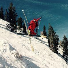 Going extreme while spring skiing at Solitude Mountain Resort in Utah.