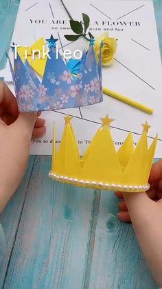 DIY Children's Birthday Crown - Kinderbetreuung Crown Crafts, Diy Crown, Cool Paper Crafts, Paper Crafts Origami, Diy Origami, Diy Crafts Hacks, Diy Crafts For Gifts, Diy Birthday Crown, Birthday Crowns