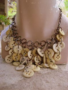 ButtonShop.ca - Elegant Antique Bone Button Chain Maille Necklace $46.00 USD