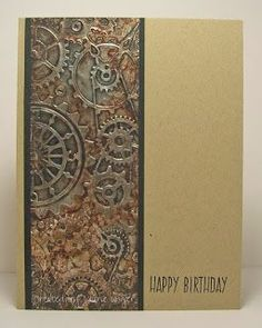Laurie Unger, Laurie's Stampin Place: Provo Craft Gears Embossing Folder, metal tape, alcohol inks, Black Soot Distress Paint
