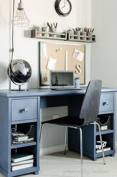 Denim Look Desk Makeover | Chalk paint, soft wax, new hardware and wire storage baskets turn a desk headed for the trash into a stylish and functional boy's desk | personallyandrea.com