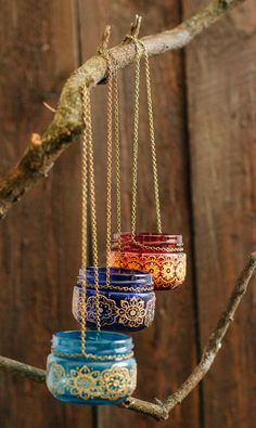 This beautiful set of three hand painted jar lanterns is a true statement of the…