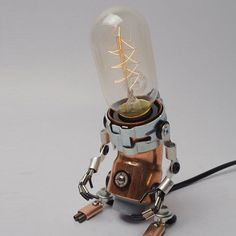 Customorder Handmade Robot Lamp Steampunk Electrical Industrial Copperman A-type…