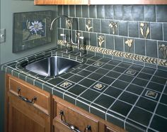 countertop vermont verde; backsplash 3x6 subway tilepratt and