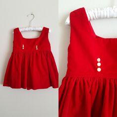 Vintage Red Velvet Baby Dress / Valentine's Day Dress / 18 Months Shop at www.etsy.com/Shop/ThriftyVintageKitten
