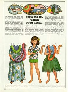 Vintage February 1978 Magazine Paper Doll Betsy McCall Writes From Hawaii