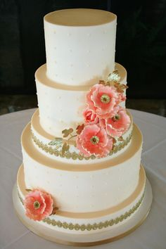 Peach, Pearl and Poppy Wedding Cake with Gold Accents by Yellow Cake ...