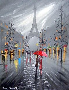 Paris Eiffel Tower painting couple umbrella and scattered li Paris Kunst, Paris Art, Eiffel Tower Painting, Paris Painting, Umbrella Art, Paris Eiffel Tower, Art Pictures, Amazing Art, Art Photography