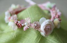 Blush cream& pearls floral headband head halo by greenearthstudio, $26.40