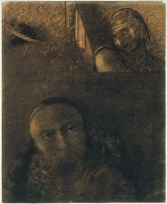 Odilon Redon (French: 1840-1916), Faust and Mephistopheles, 1880. Various charcoals, with wiping, stumping, erasing, and incising, on cream ...
