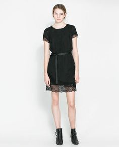 Image 1 of WOOLLEN DRESS WITH LACE TRIM from Zara