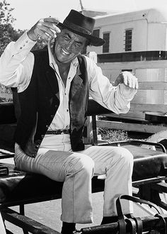 Dean Martin - relaxing and laughing on the set - web source -MR