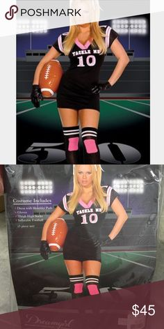 Tackle Me Football Costume 4 piece set: Dress  Gloves  Thigh high socks, Inflatable Football   Medium 120-140 lbs Costume tried on in store for sizing but hasn't sold yet. Accessories never opened. Dreamgirl Dresses Mini