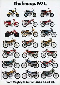 Vintage Motorcycles 1971 - The Honda Motorcycle Lineup - From Mighty To Mini! Vintage Honda Motorcycles, Honda Bikes, Motos Vintage, Vintage Bicycles, Vespa, Motos Trial, Honda Powersports, Cb 450, Honda Cub