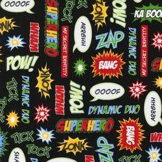 Superhero: Words from Illustration Ink For Robert Kaufman 1 Yard Cut. $9.25, via Etsy.