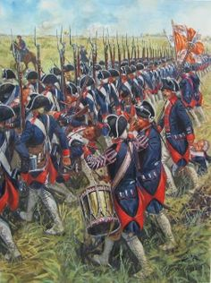 Prussian infantry at battle of Kolin June during the seven years war Art by Giusseppe Rava American Revolutionary War, American Civil War, American History, Military Art, Military History, Military Uniforms, Friedrich Ii, Frederick The Great, Seven Years' War