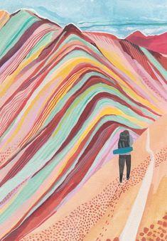 Rainbow Mountain Art Print by Miranda Sofroniou - X-Small Berg Illustration, Mountain Illustration, Travel Illustration, Arte Inspo, Kunst Inspo, Peruvian Art, Illustration Botanique, Mountain Art, Mountain Biking