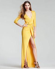 ShopStyle: Roberto CavalliFaux-Wrap Gown, Yellow