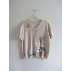 Vintage Alfred Dunner Cream Floral Tropical Beach Beaded Spring Knit Sweater Cardigan Sz Large