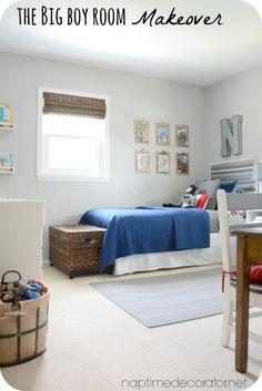 Big Boy Room w/ Cute Fixed-Up Yard Sale Dresser & DIY Superhero Sign