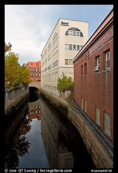 Downtown buildings bordering Kenduskeag stream. Bangor, Maine, USA (color)