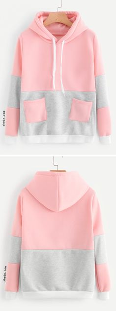 Color Block Pocket Hooded Sweatshirt