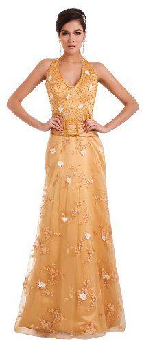 herafa p32837-18 Evening Dress Elegant Style Halter Strapless Open Back Zip Delicate Beading Long Sweep A-line Yellow $243.70