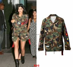 Kylie Jenner going to Khloe's birthday party in NYC (June.27) wearing a Off-White C/O Virgil Abloh Field Jacket (Camouflage) for $949. Buy it HERE. Shes also wearing Christian Louboutin Boots.