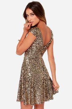 Livin' The Gleam Gold Sequin Dress