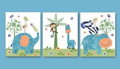 Déco chambre enfant, Lot de 3 Illustration pour enfant et bebe garçon est une création orginale de artbynataera sur DaWanda