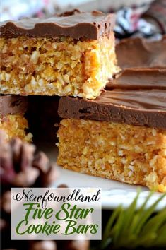 Newfoundland Five Star Cookie Bars - Lord Byron's Kitchen - Claire Sauve - Newfoundland Five Star Cookie Bars - Lord Byron's Kitchen - Rock Recipes, Fudge Recipes, Baking Recipes, Cookie Recipes, Dessert Recipes, Candy Recipes, Bar Recipes, Star Cookies, Yummy Cookies