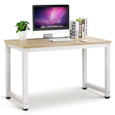 """Oshion Wood Computer Desk PC Laptop Table Workstation Study Home Office Furniture. Desk Dimensions: (47.2 x 23.6 x 29.1)""""(L x W x H). Made of high quality wood and metal tubes, stable and durable. Assembly was straight forward and quick,just need to install the 4 legs and 2 leg bars with hex key,which will save your valuable time. Plenty of smooth surface provides for wide workspace for writing, computer work and other home office activities. Could be used as a writing desk, study desk..."""