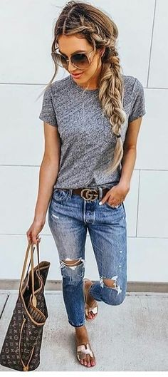 summer outfits women over 40 - summer outfits ; summer outfits women over 40 ; summer outfits plus size Cute Summer Outfits, Simple Outfits, Fall Outfits, Casual Women's Outfits, Casual Summer Outfits With Jeans, Casual Summer Style, Summer Clothes For Women, Comfortable Summer Outfits, Summer Outfits Women Over 40