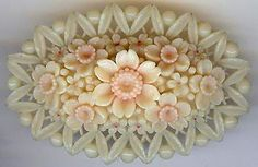 VINTAGE PINK & WHITE CELLULOID CARVED FLOWER BOUQUET PIN