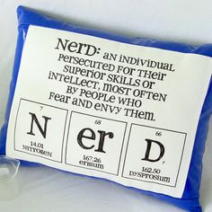 """Nerd definition throw pillow - I seriously need this. """"An individual persecuted for their superior skills or intellect, most often by people who fear and envy them."""""""
