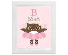 74P  Owl Print  Personalized Letter B Owl Ballerina by leearthaus
