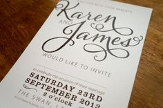 Bold Text A5 invitation card using a 'Vintage' font with other complementing styles. Chocolate brown printed on cream card.