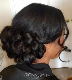 40 Irresistible Hairstyles For Brides And Bridesmaids Formal Twisted Low Bun Black Brides Hairstyles, Black Bridesmaids Hairstyles, Bride Hairstyles, Fancy Hairstyles, African Hairstyles, Low Bun Wedding Hair, Wedding Hair And Makeup, Bridal Hair, Hair Makeup